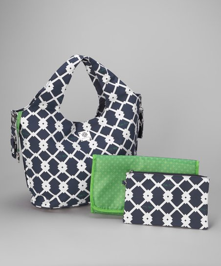 Navy & Green Signature Collection Bucket Diaper Bag