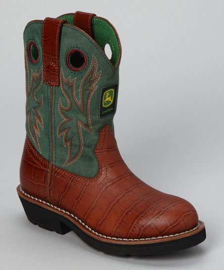 Green & Brown Crocodile Cowboy Boot