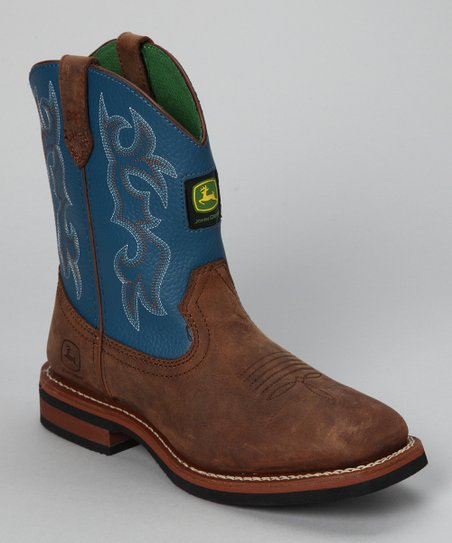Blue Denim & Brown Cowboy Boot
