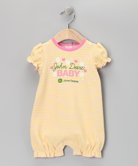 Yellow 'Baby' Stripe Romper - Infant