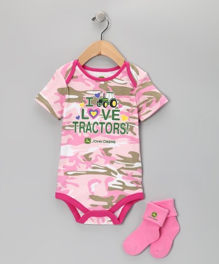 Pink Camouflage &#039;Tractors&#039; Bodysuit &amp; Socks - Infant