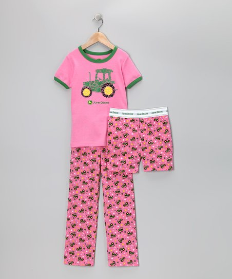 Pink Tractor Pajama Set - Toddler &amp; Girls