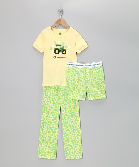 Yellow Tractor Pajama Set - Toddler &amp; Girls