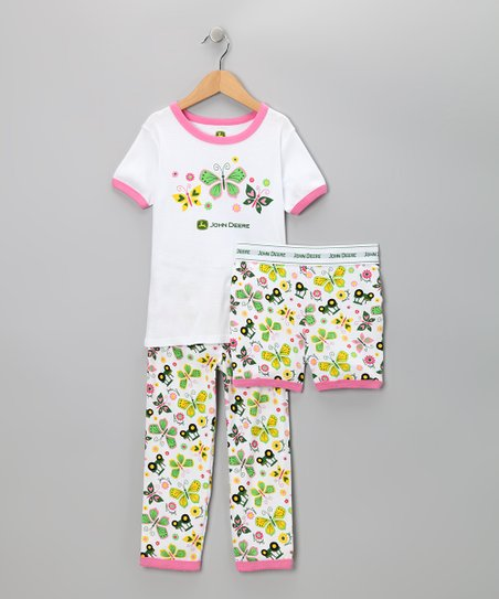 White Butterflies Pajama Set - Girls