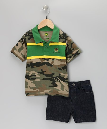 Green Camouflage Polo & Shorts - Toddler