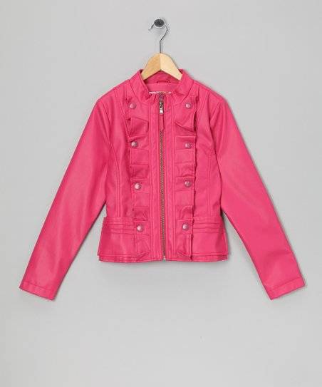Hot Pink Ruffle Military Jacket - Girls