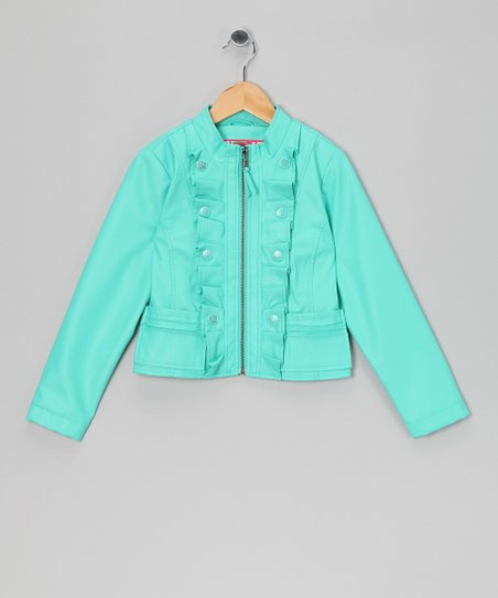 Sea Foam Ruffle Military Jacket - Toddler & Girls