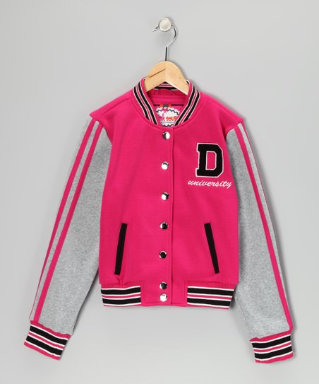 Hot Pink Varsity Jacket - Girls