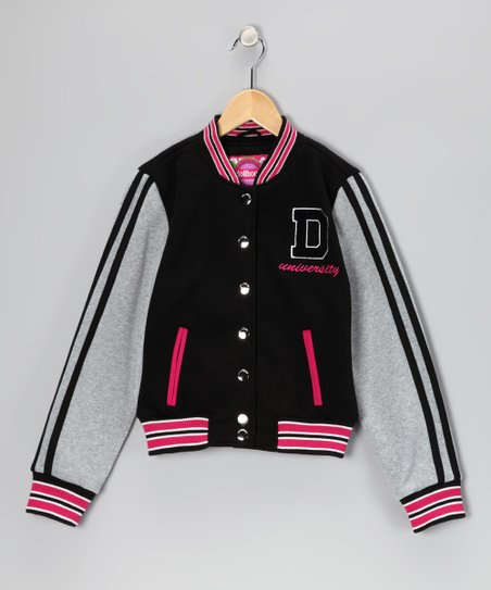 Black Varsity Jacket - Toddler & Girls