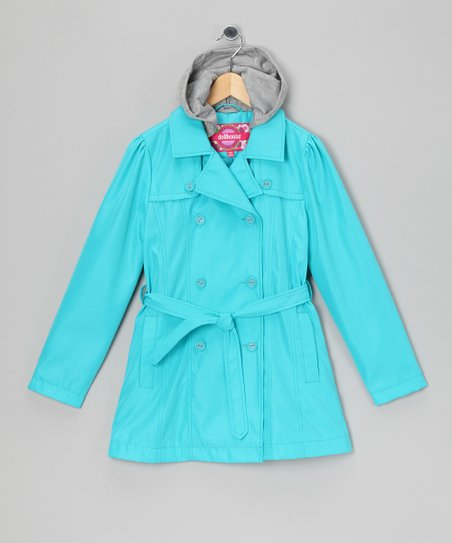Turquoise Trench Coat - Toddler & Girls