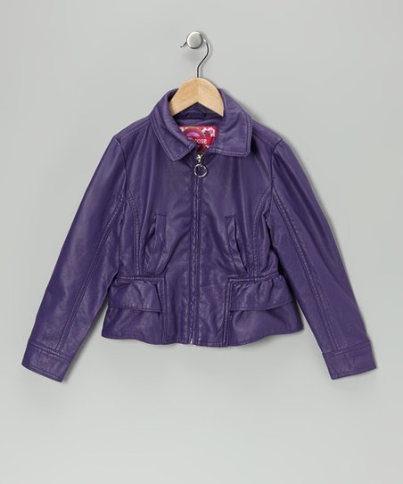 Plum Ruffle Jacket - Toddler