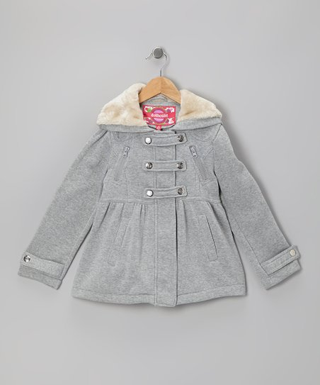 Heather Gray Snap-Front Hooded Jacket - Girls