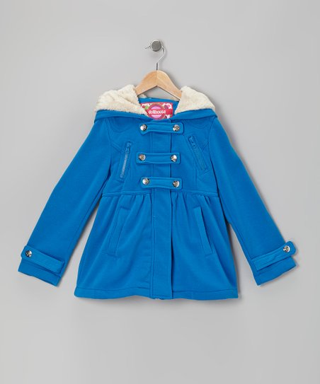 Electric Blue Snap-Front Hooded Jacket - Girls