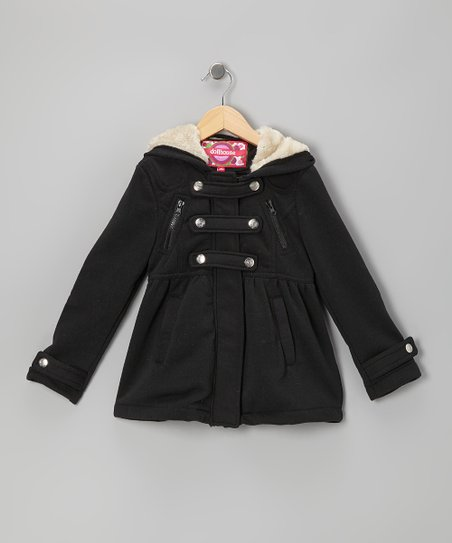 Black Snap-Front Hooded Jacket - Toddler & Girls
