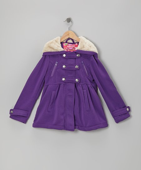 Purple Snap-Front Hooded Jacket - Girls