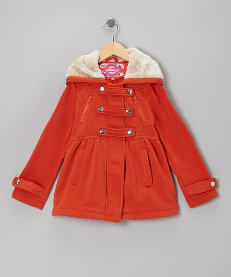 Mandarin Orange Snap-Front Hooded Jacket - Girls
