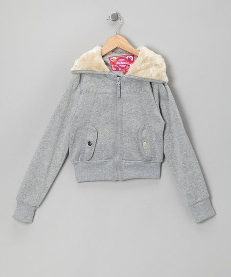 Heather Gray Zip-Up Hoodie - Toddler & Girls