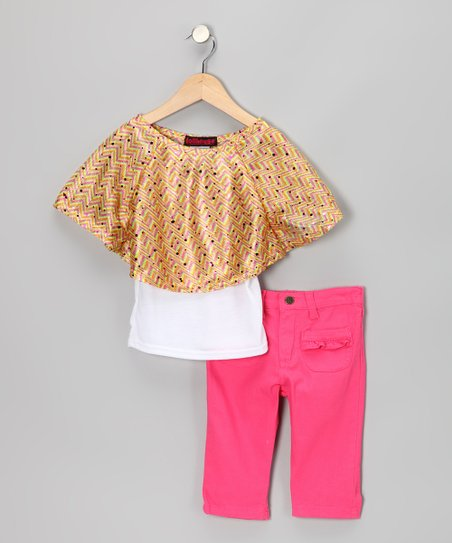 Yellow Cape-Sleeve Top & Jeggings - Infant, Toddler & Girls