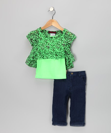 Green Tiger Chiffon Top & Jeggings - Infant