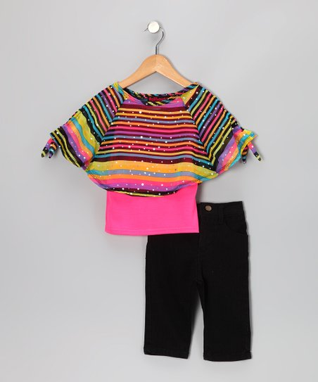 Pink Stripe Chiffon Top & Jeggings - Infant & Toddler