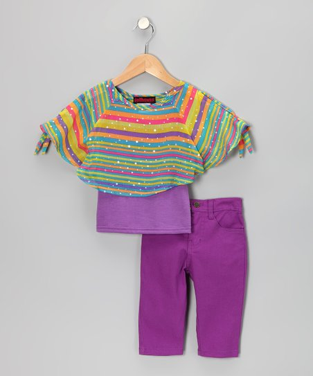 Purple Stripe Chiffon Top & Jeggings - Infant & Toddler