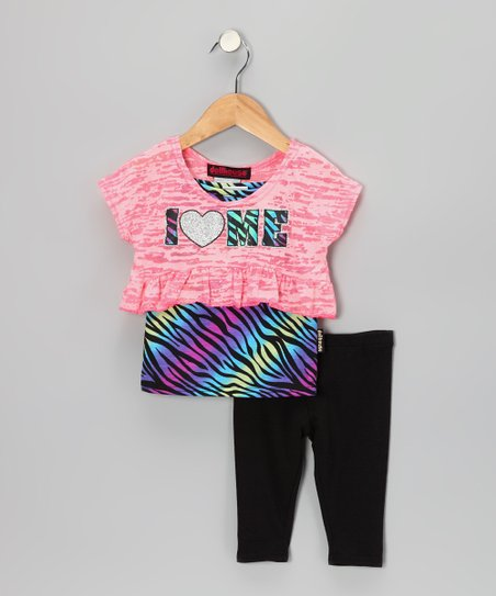 Pink 'I Heart Me' Layered Top & Leggings - Infant