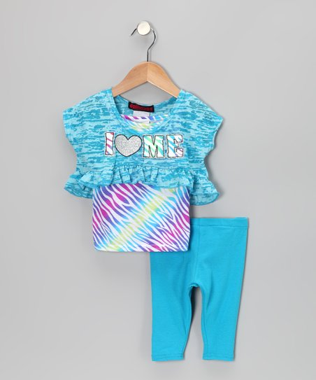 Turquoise 'I Heart Me' Layered Top & Leggings - Infant