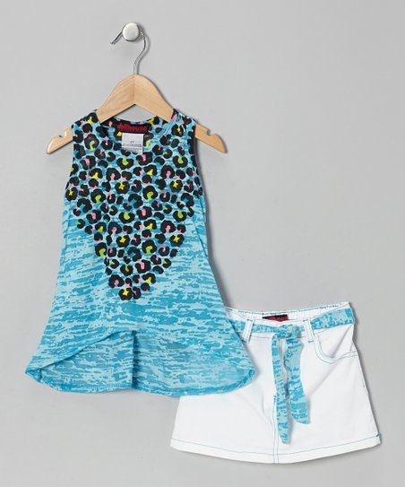 Turquoise Leopard Tissue Tank & Skirt - Infant
