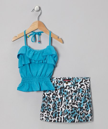 Blue Halter Top & Leopard Skirt - Infant & Girls