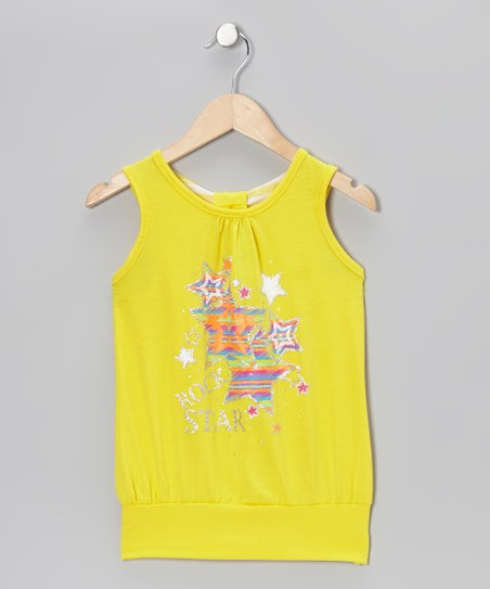 Yellow Star Knot Tank - Girls