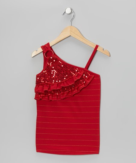 Red Sequin Asymmetrical Tank - Girls
