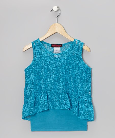 Blue Lace Layered Tank - Girls