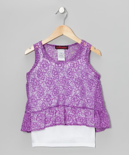 Purple Lace Layered Tank - Girls