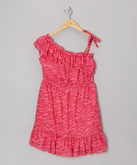 Pink Asymmetrical Zebra Chiffon Ruffle Dress - Girls