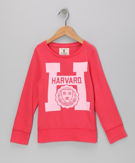Neon Pink 'Harvard' Seal Tee - Girls