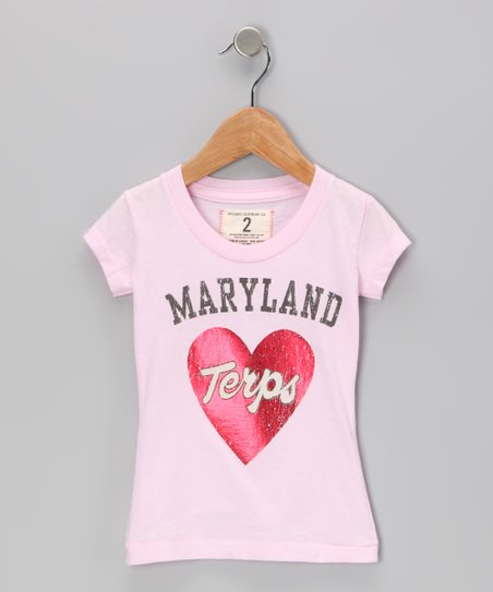 Light Pink 'Maryland Terps' Heart Tee - Girls