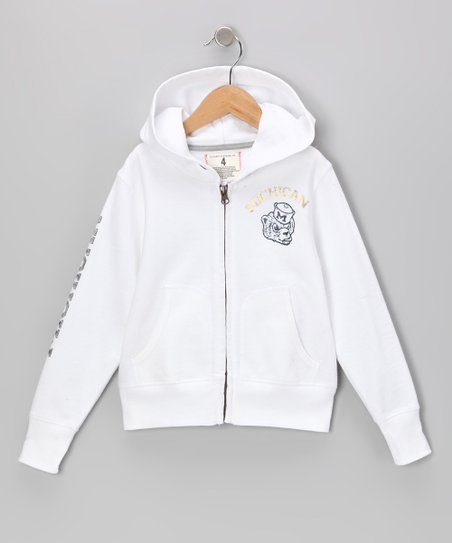 White 'Michigan' Zip-Up Hoodie - Toddler & Girls