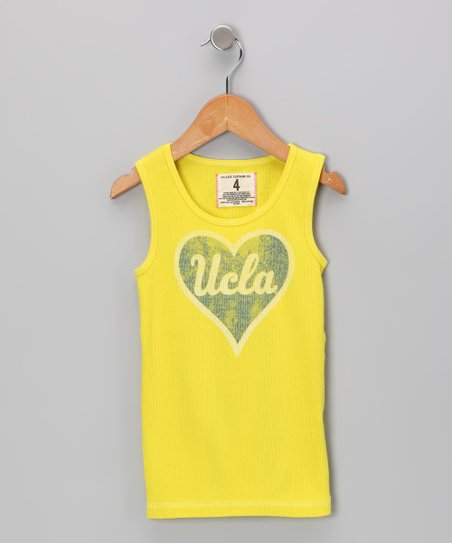 Dazzling Yellow 'UCLA' Heart Tank - Toddler & Girls