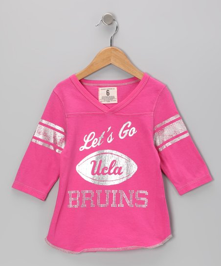 Petal Pink 'UCLA' Football Tee - Girls