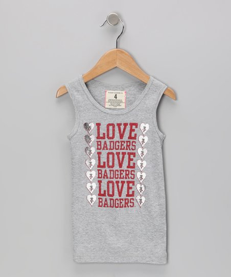 Heather Gray 'Love Badgers' Wisconsin Tank - Toddler & Girls