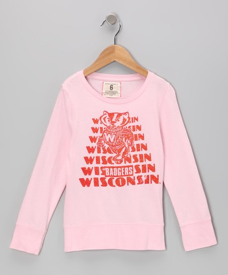 Light Pink 'Wisconsin' Repeat Tee  - Girls