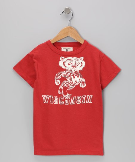 Faded Red &#039;Wisconsin&#039; Mascot Tee - Boys