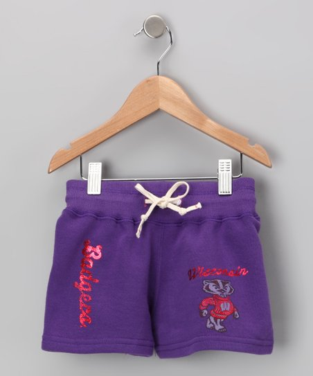 Purple &#039;Wisconsin&#039; Shorts - Girls