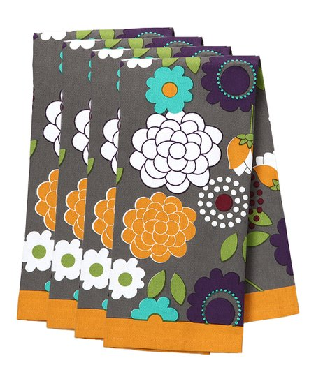 Flora Daisy Kitchen Towel - Set of Four