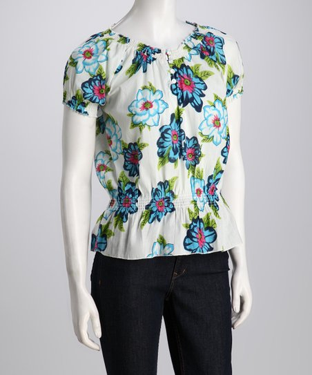 White Floral Shirred Peplum Top