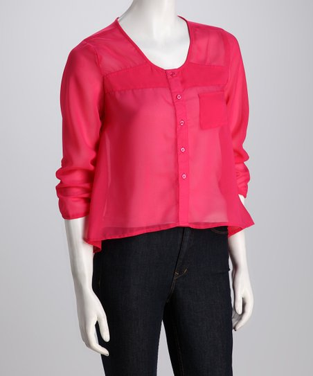 Fuchsia Sheer Hi-Low Button-Up