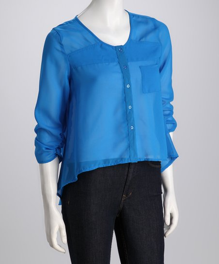 Turquoise Sheer Hi-Low Button-Up