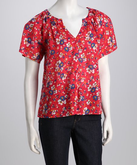 Red Floral V-Neck Button-Up Top