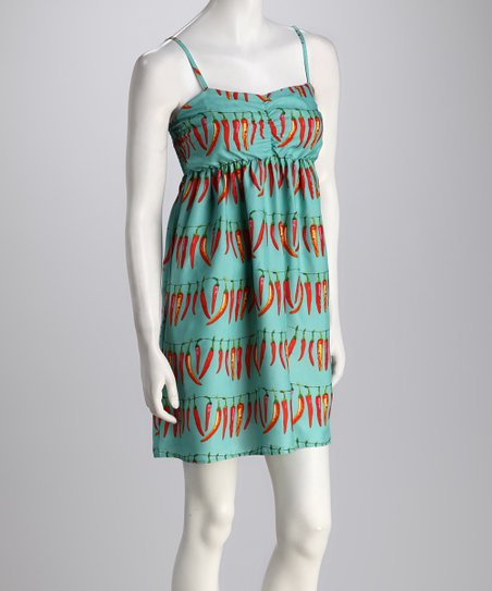 Turquoise Chili Pepper Empire-Waist Dress