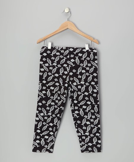 Black & White Fish Leggings - Girls